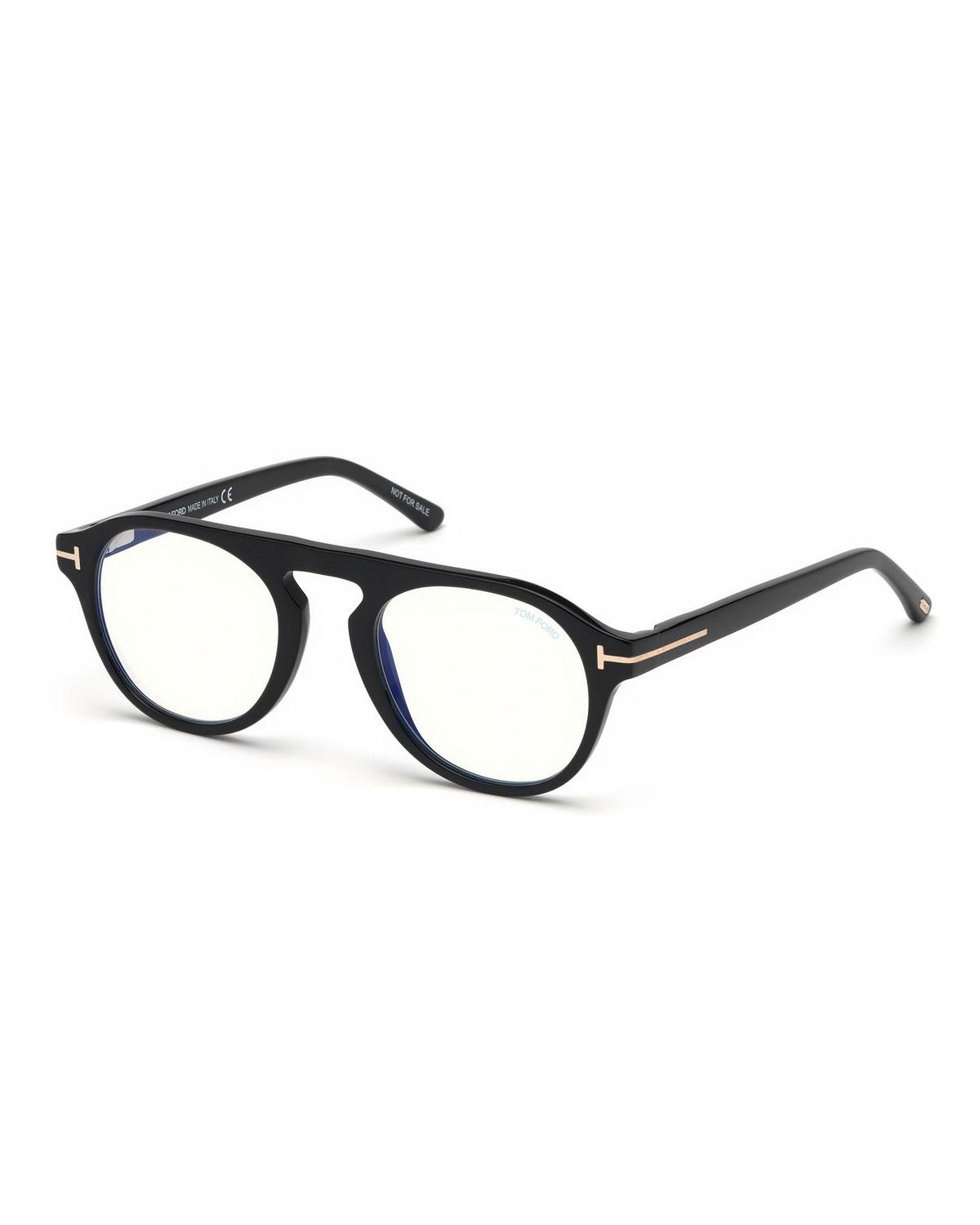 c214d74752 Tom Ford Men s Round Optical Glasses W  Magnetic Clip On Blue-block Shade  in Black for Men - Lyst
