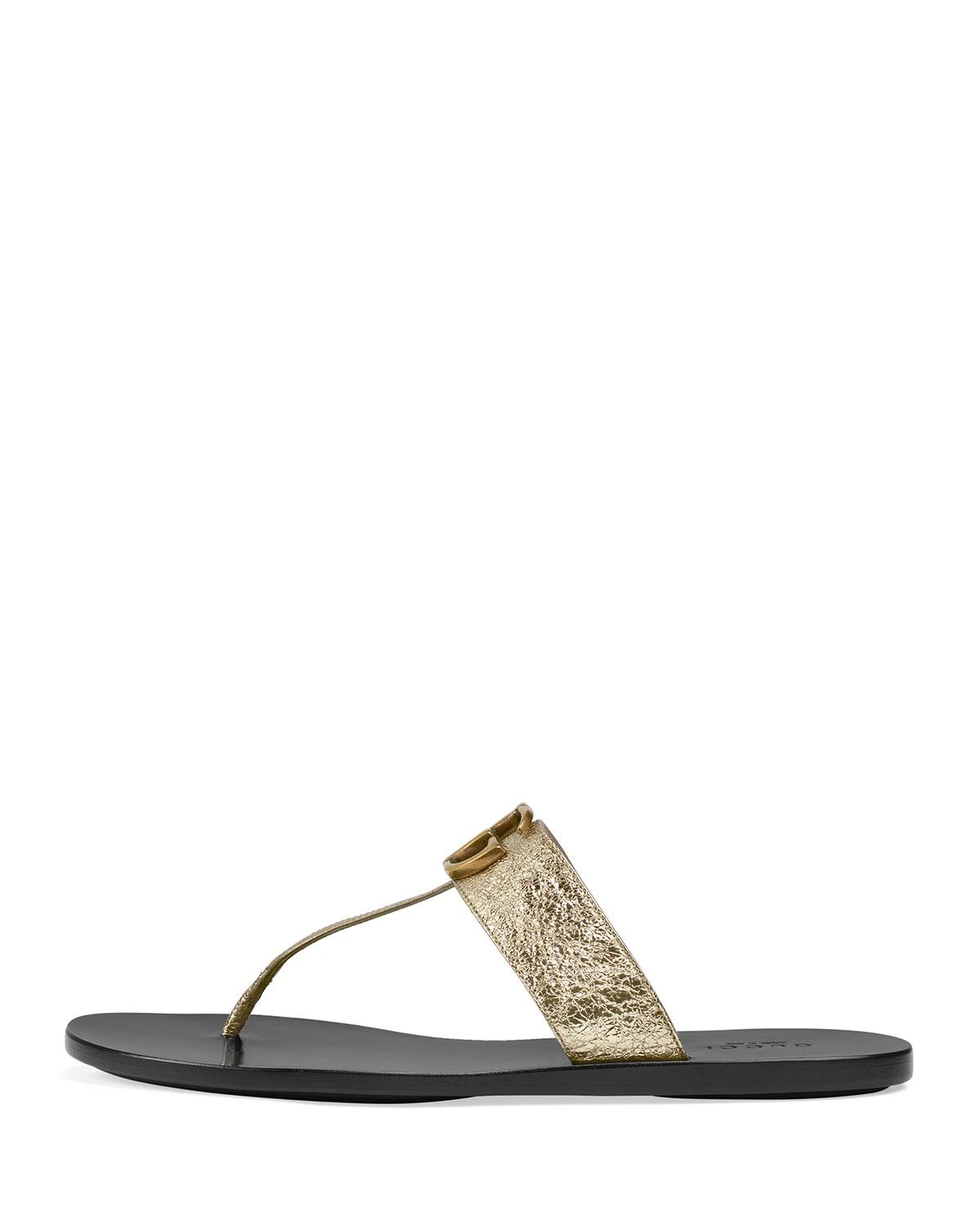 323fe1041582 Lyst - Gucci Gold Double G Leather Thong Sandal. in Metallic - Save 13%