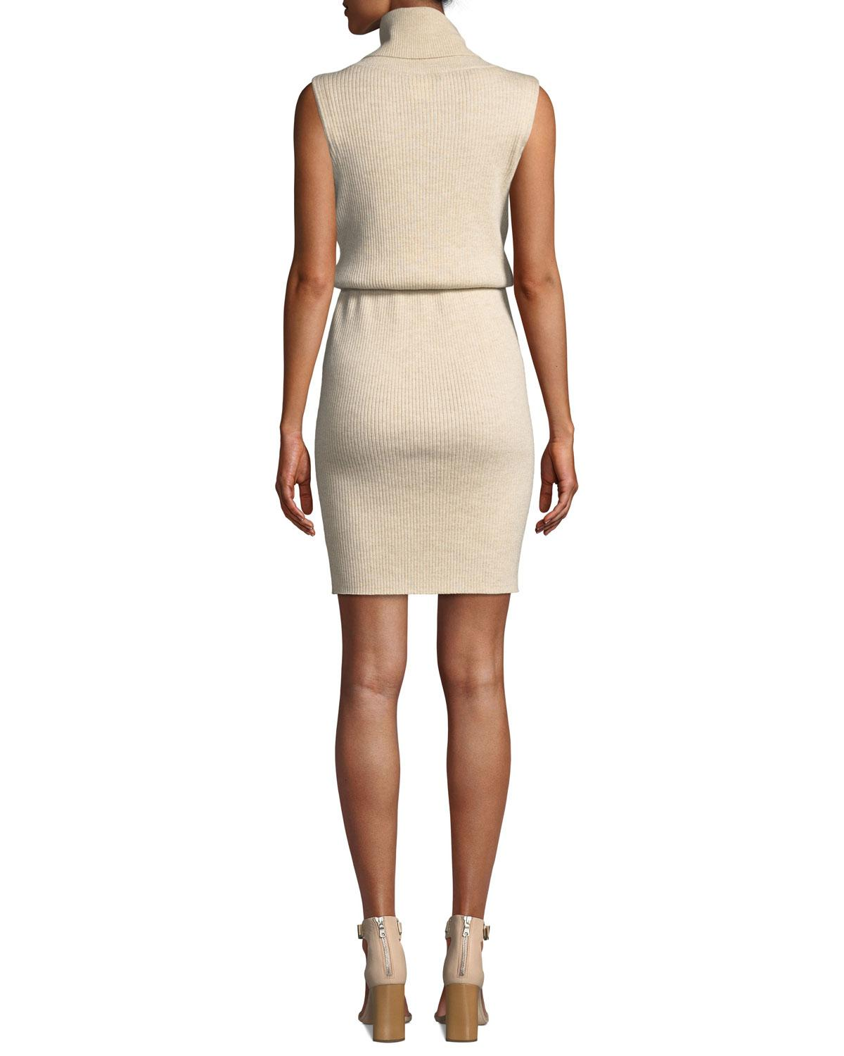 c3c6371c945 Lyst - Alice + Olivia Hailee Ribbed Blouson Shirt Dress in Natural