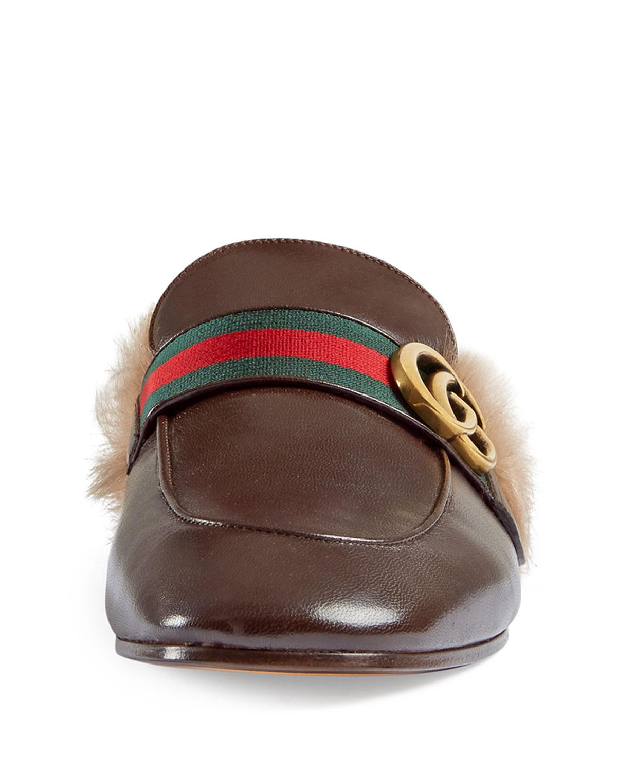 390d765534c Gucci New Princetown Leather Fur-lined Slipper With Double G in Brown for  Men - Save 11% - Lyst