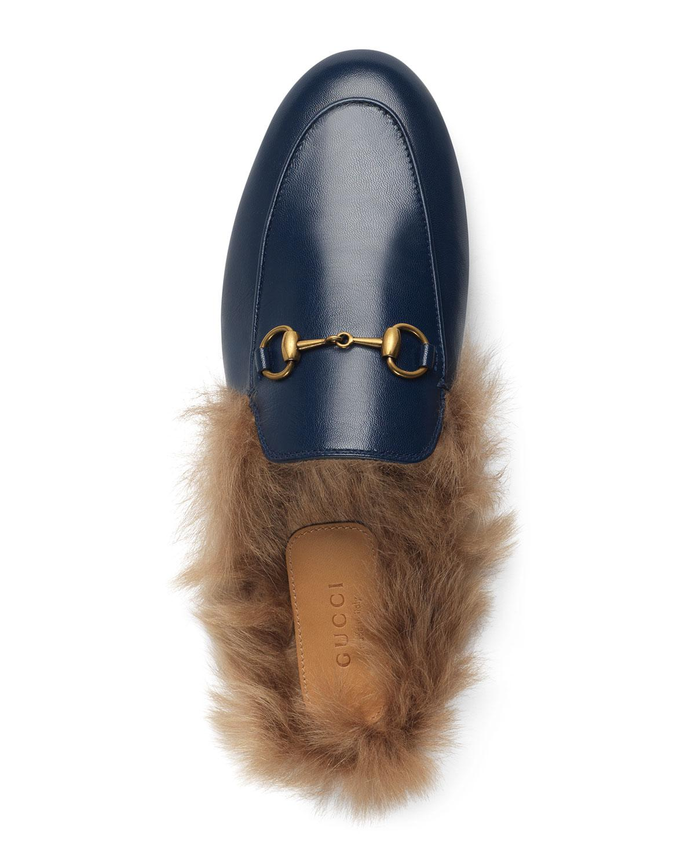 dc9400fdb5b Gucci - Blue Fur-lined Leather Mule Slippers - Lyst. View fullscreen