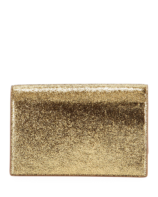 f8da26d986 Saint Laurent Kate Monogram Ysl Small Crackled Metallic Wallet On Chain -  Bronze Hardware in Metallic - Lyst