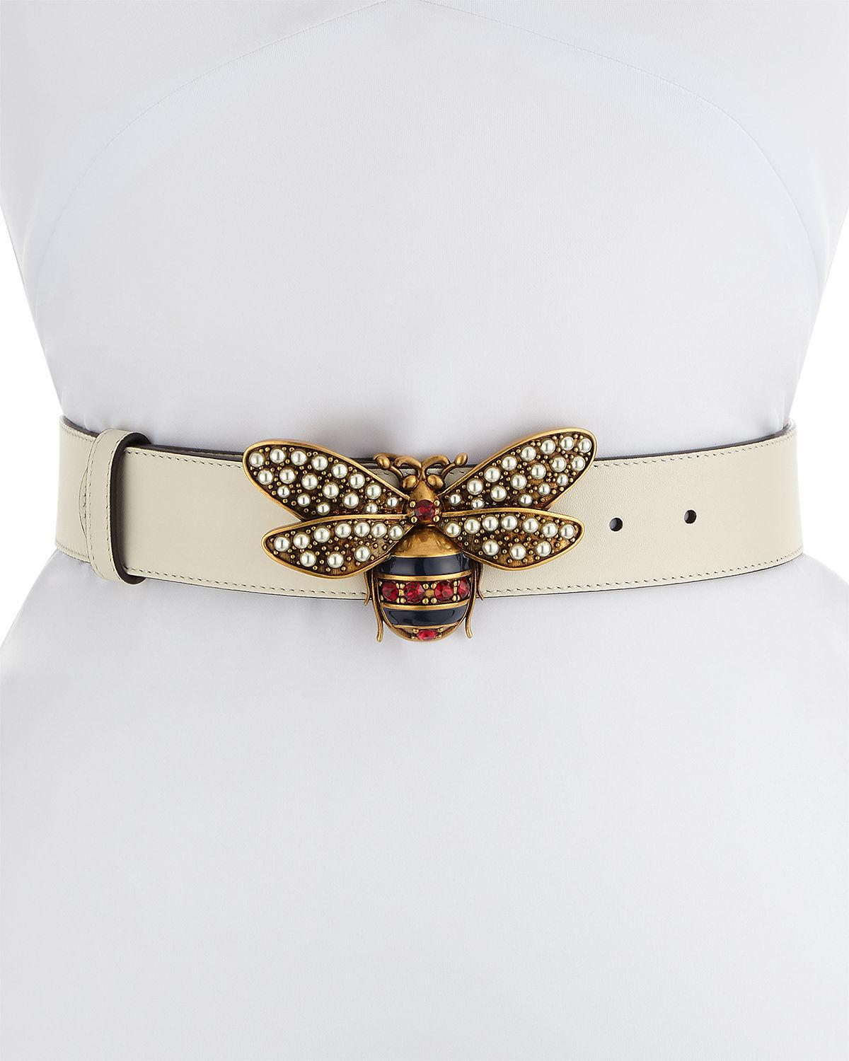 9a97aac59 Gucci Queen Margaret Leather Bee Belt in White - Lyst