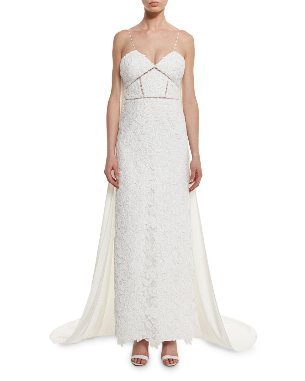Lyst - Self-Portrait Angelica Guipure Lace Cape-back Bridal Gown ...