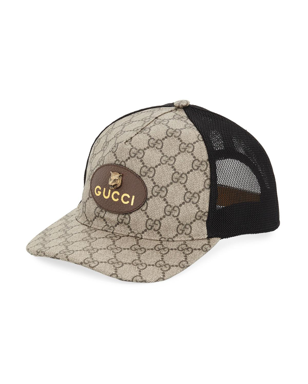 6de23512c97 Gucci - Black GG Supreme Baseball Cap With Feline Head for Men - Lyst. View  fullscreen