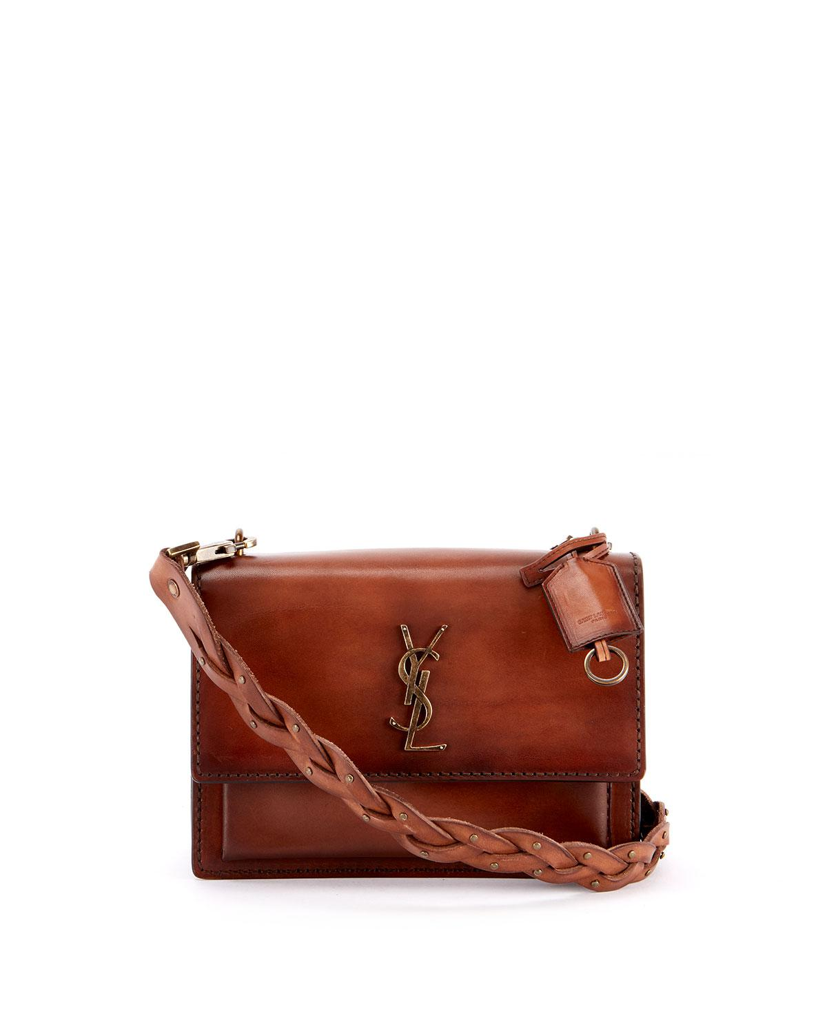 fa14e3c4d4 Saint Laurent. Women s Brown Sunset Medium Ysl Monogram Flap Shoulder Bag  ...