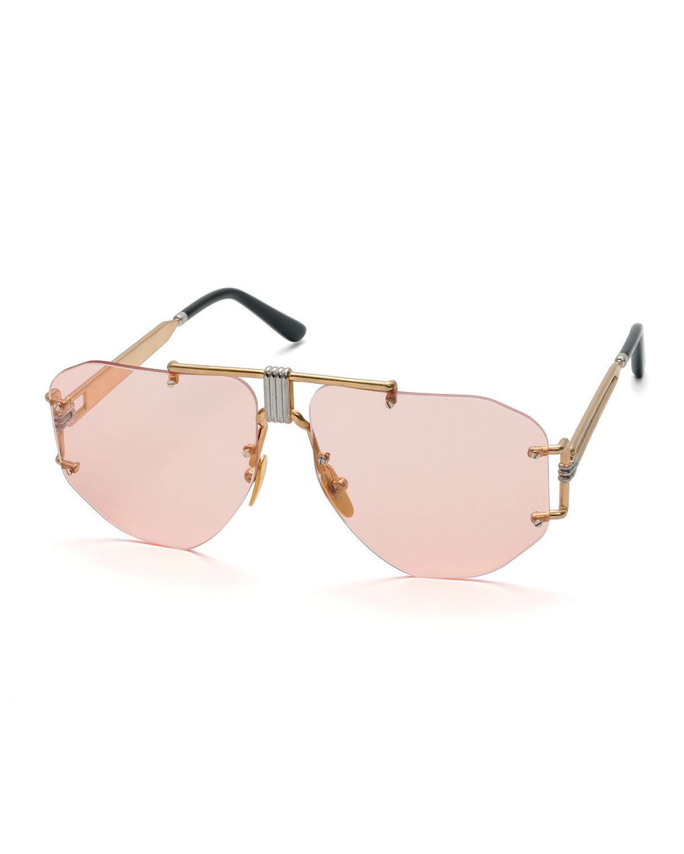 b428e1fc84a Lyst - Céline Rimless Aviator Sunglasses in Pink