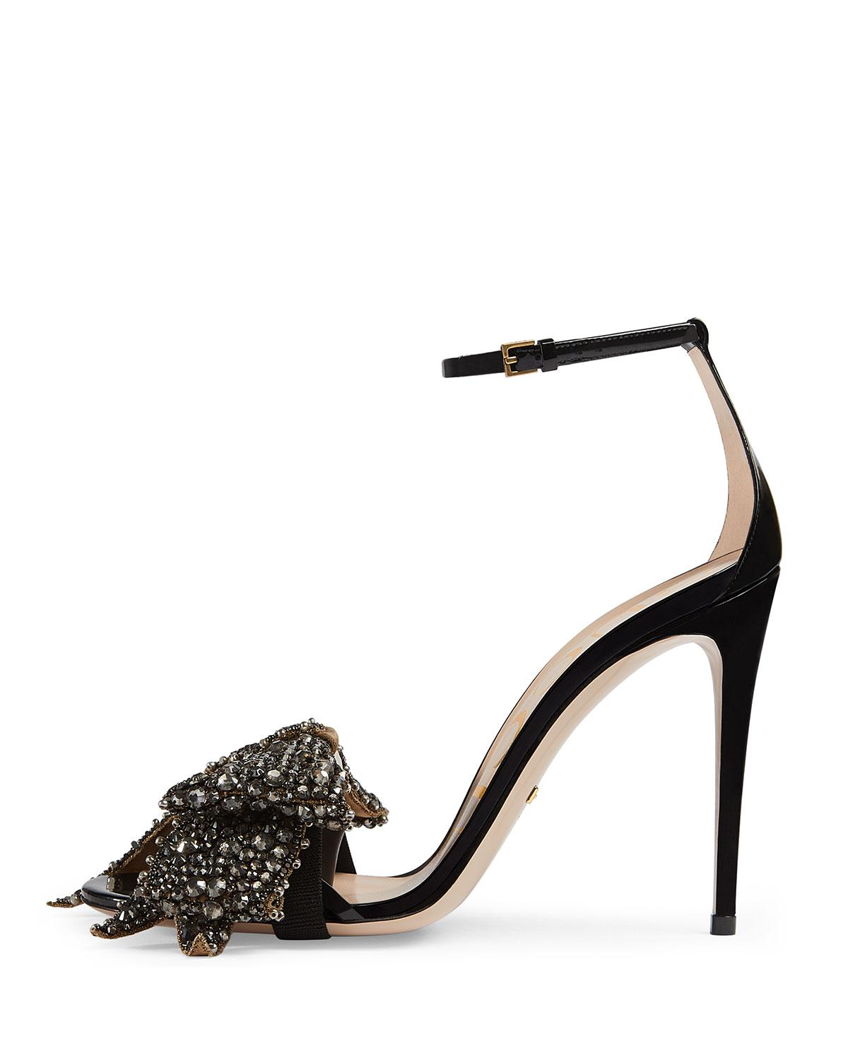 f26456860e83 Lyst - Gucci Ilse Bow-embellished Leather Sandals in Black