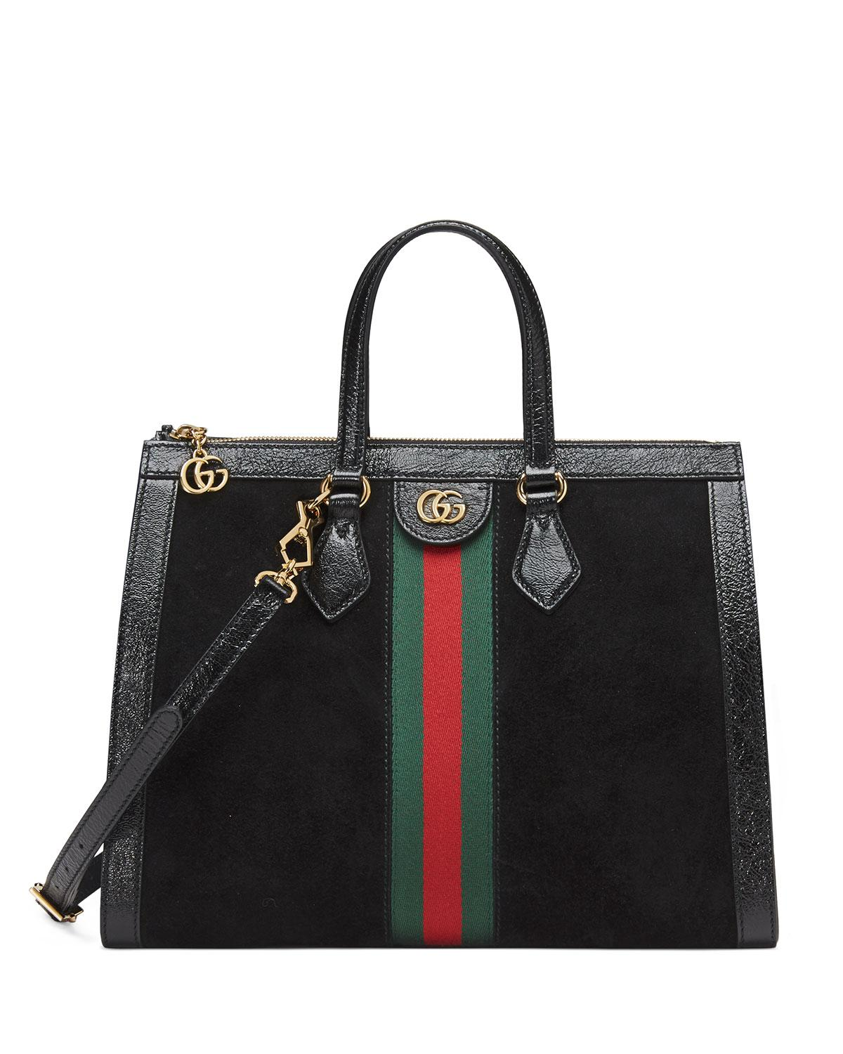 0ff704cad5c85d Gucci Ophidia Web Suede Top-handle Tote Bag in Black - Lyst