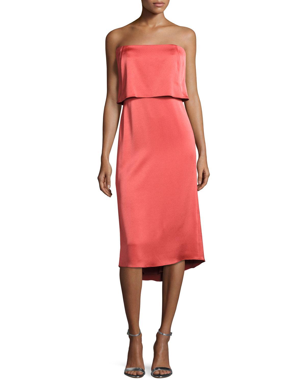 674144ae5d5 Halston Strapless Satin Popover Cocktail Dress - Lyst