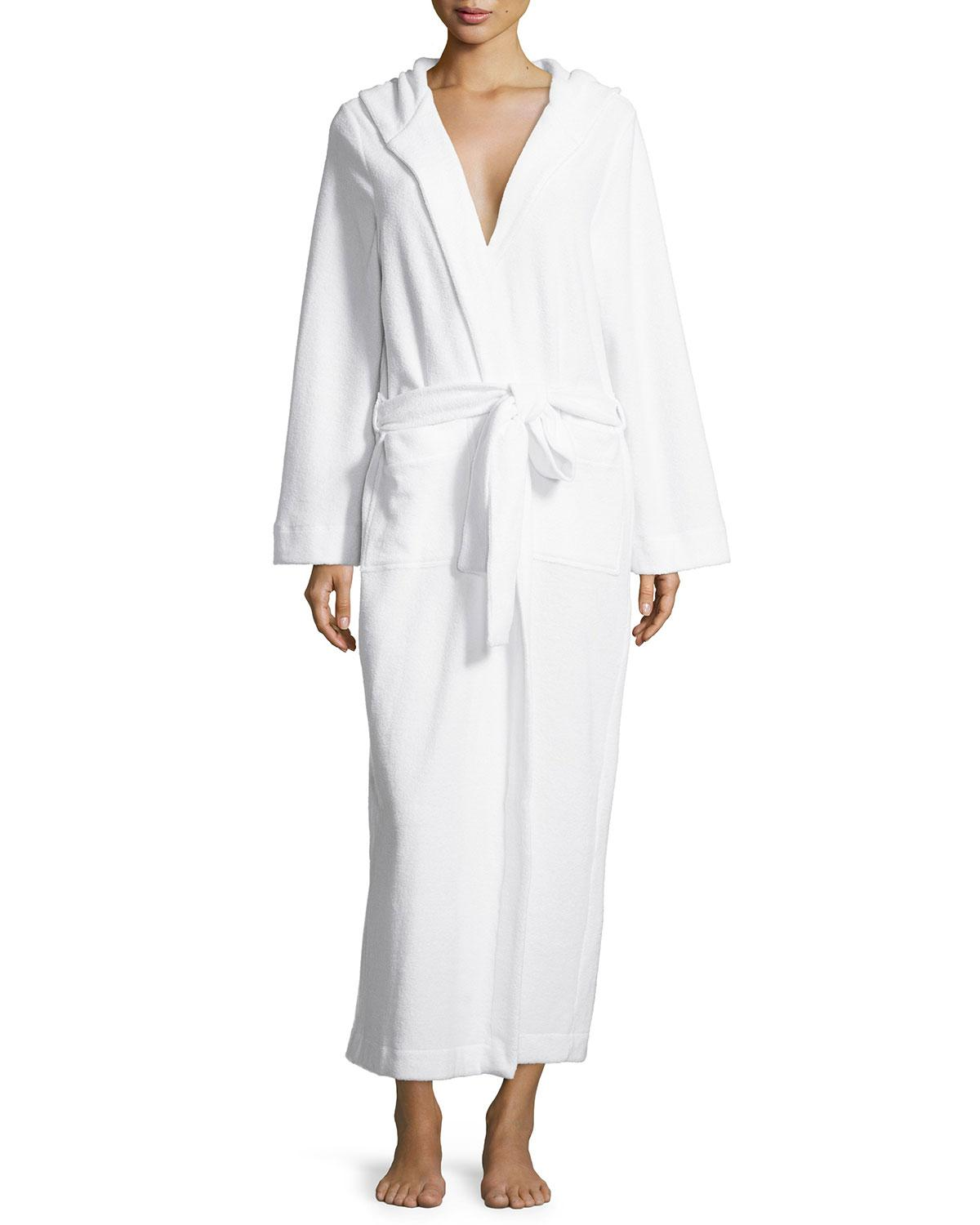 0879ae5a22 Lyst - Hanro Long Hooded Plush Robe in White