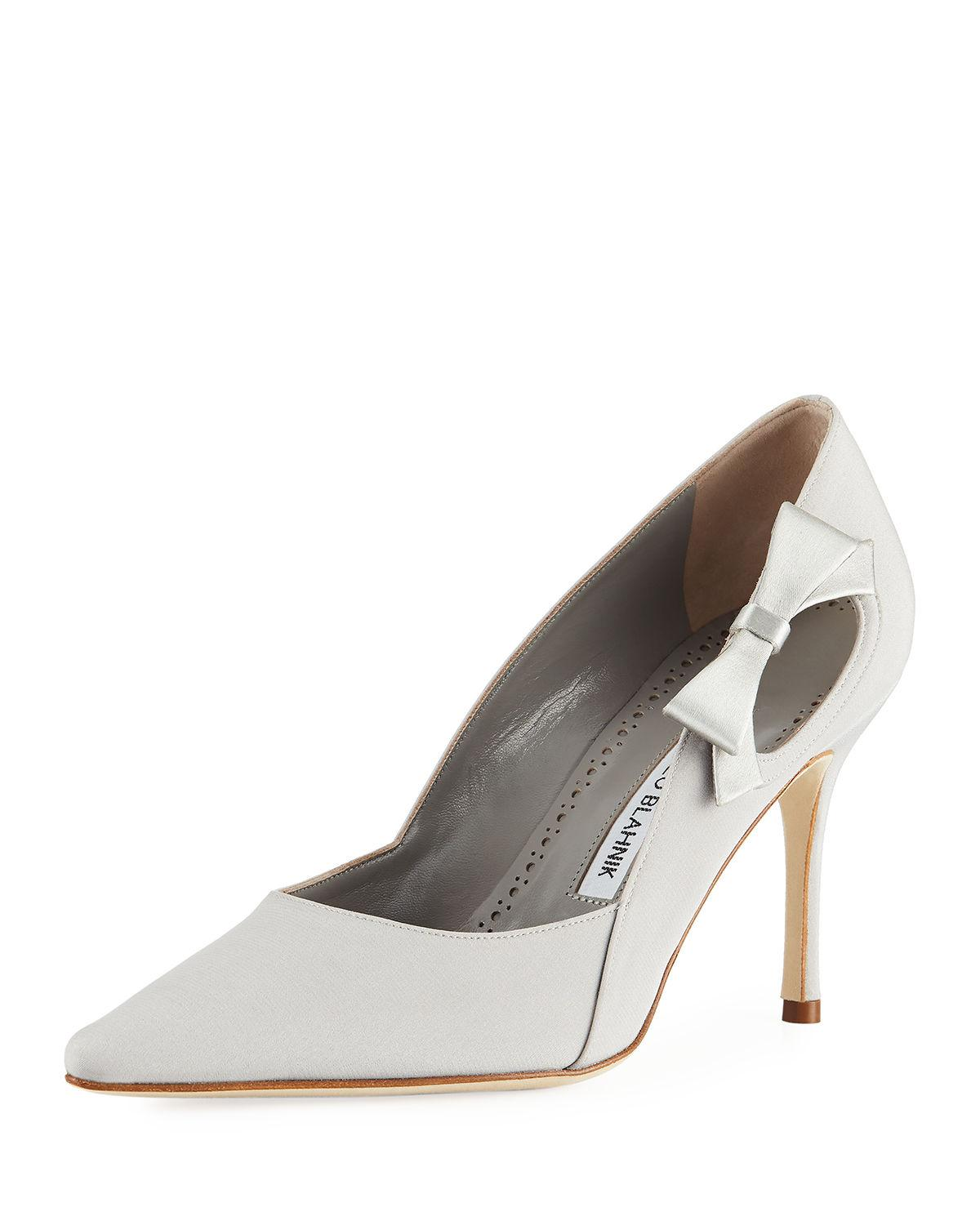 9801c8c52d Manolo Blahnik Tracee Satin Bow Pump in Gray - Save 20% - Lyst