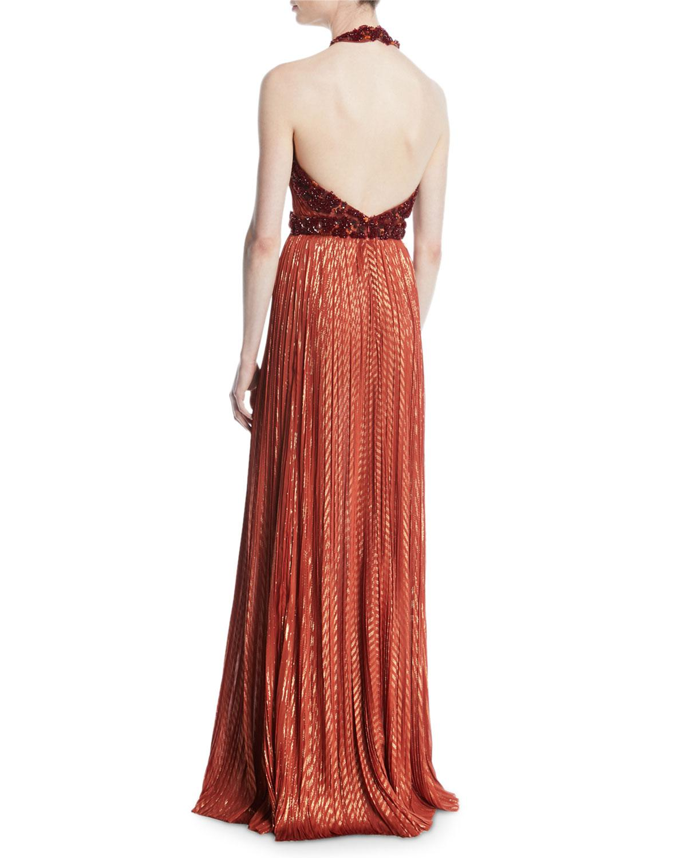 J. Mendel Metallic Beaded Halter Column Gown