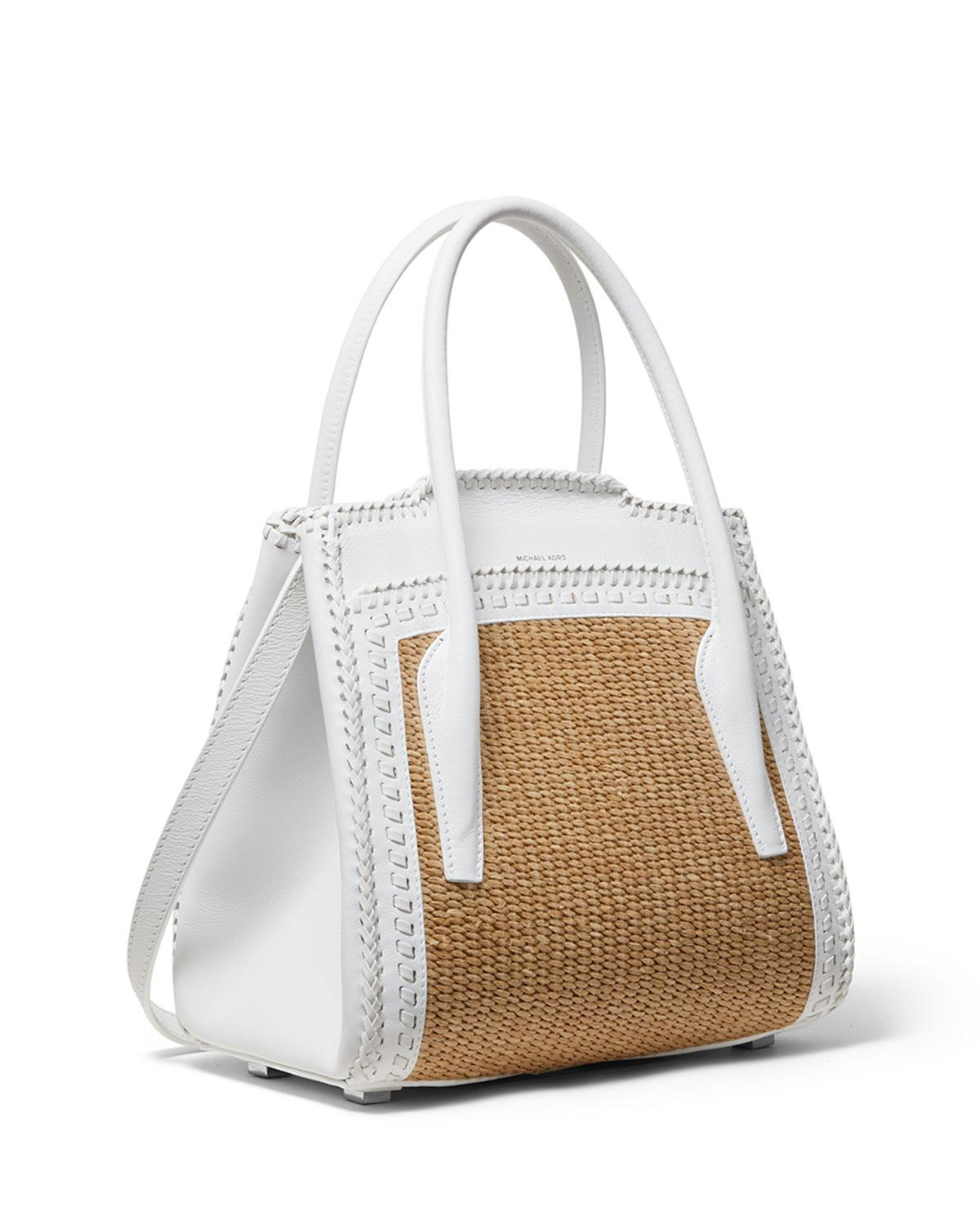 d23e735ac5e6 Michael Kors Straw And Leather Medium Satchel Bag in White - Lyst