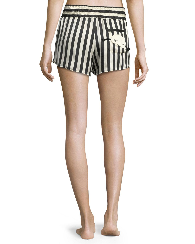 Lyst - Morgan Lane Corey Striped Silk Pajama Shorts in Blue 2d45ad0d4