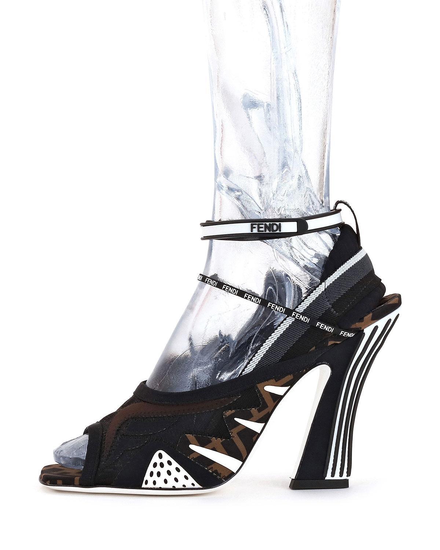 Lyst - Fendi Freedom Ff Patchwork Sandals in Black fb0d25a14fa3e