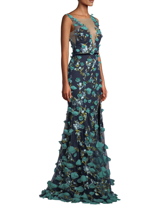 5c3181c3 Marchesa notte - Blue Plunging-illusion 3d Flower Trumpet Gown - Lyst. View  fullscreen