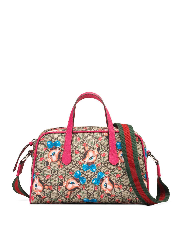 4fad741f040e Lyst - Gucci Kids  Gg Supreme Fawns Print Shoulder Bag in Brown