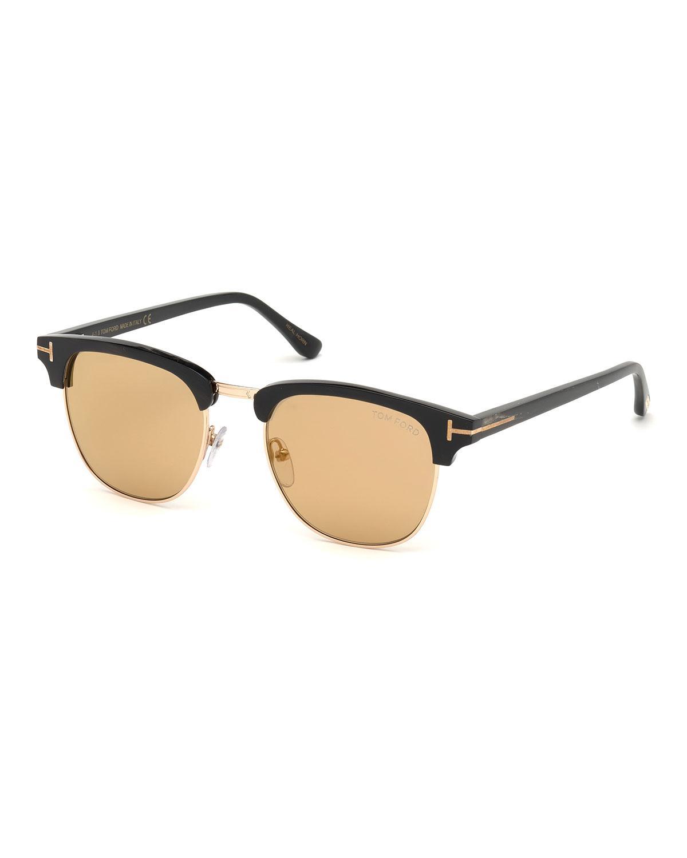 26838d22f8a10 Tom Ford - Black Men s Tom N.17 Half-rim Horn Sunglasses With Photochromic.  View fullscreen