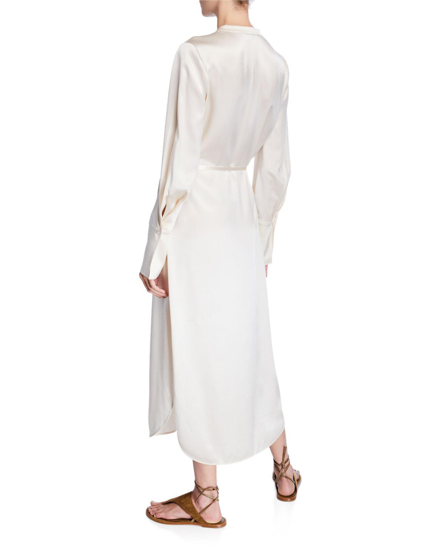 6c96ff03618cc4 Lyst - Vince Band-collar Silk Midi Shirt Dress in White