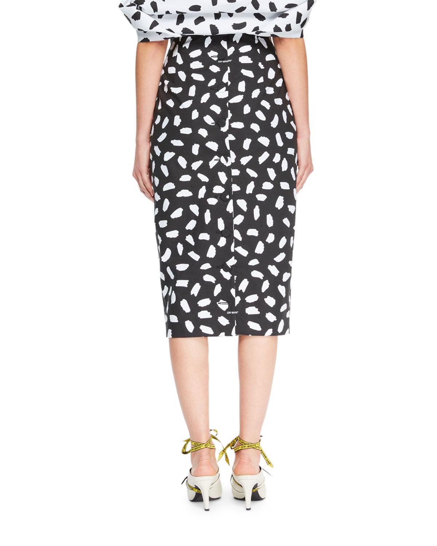 48dfa02e5 Off-White c/o Virgil Abloh Button-back Dot-print Straight Midi Skirt ...