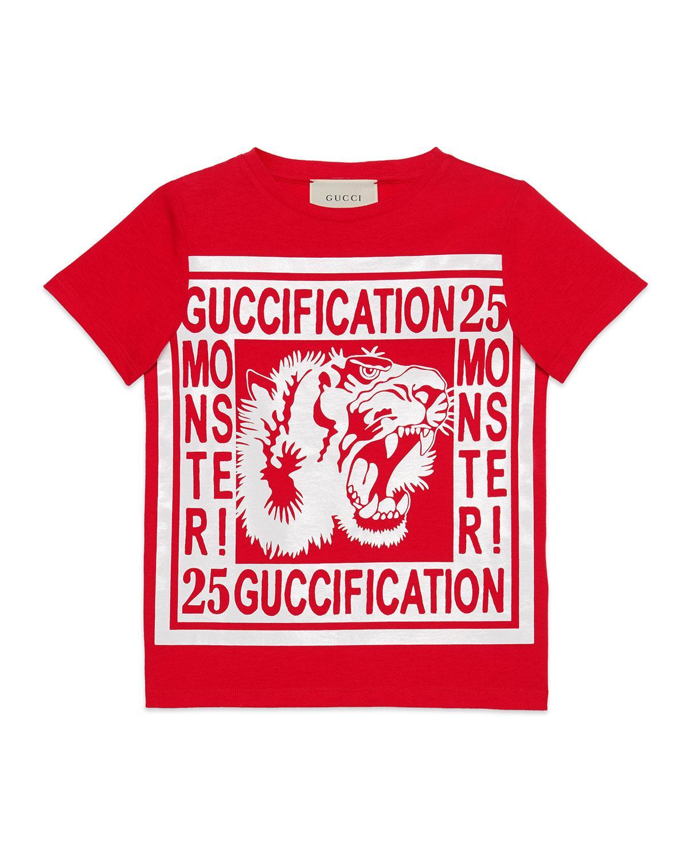 371359cd056 Gucci - Red Fication Monster   Tiger Print T-shirt for Men - Lyst. View  fullscreen
