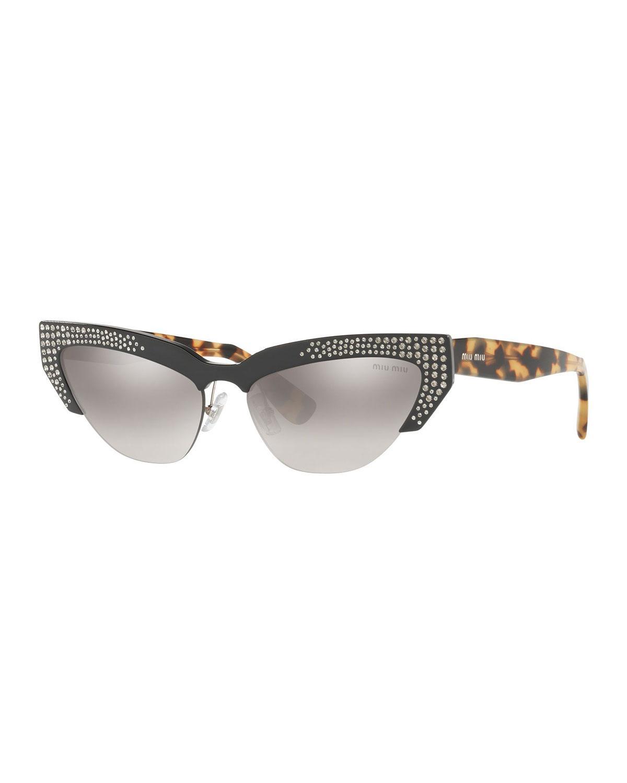 cde8bbaf1298 Lyst - Miu Miu Semi-rimless Cat-eye Sunglasses in Gray