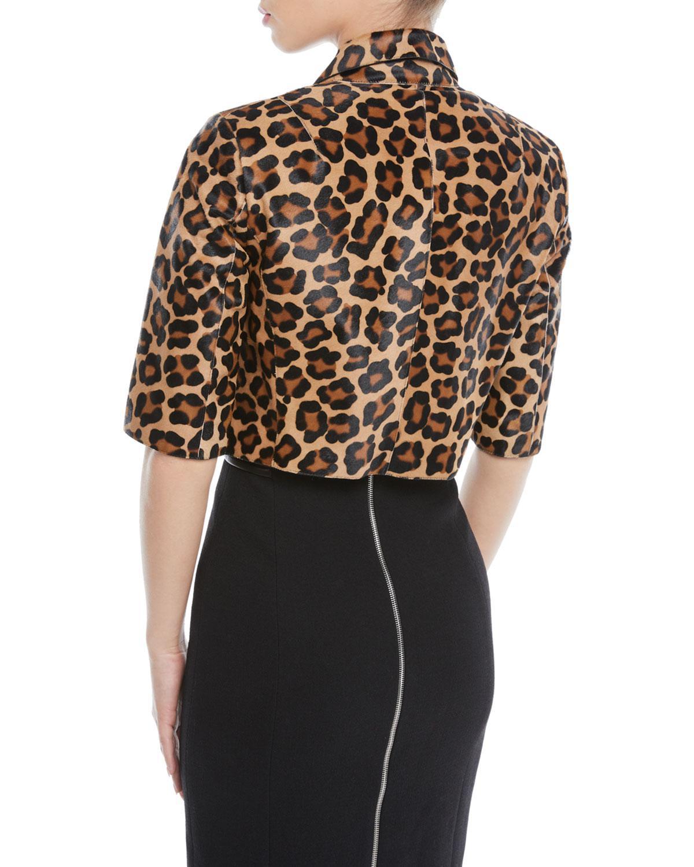 c935c2a96a08 Lyst - Michael Kors Leopard-print Calf Hair Cropped Bolero Jacket in ...