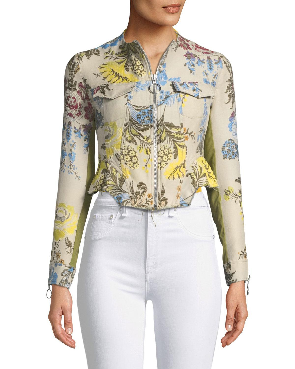 6530e6df619b11 Lyst - Marques Almeida Zip-front Floral Brocade Cropped Peplum Jacket