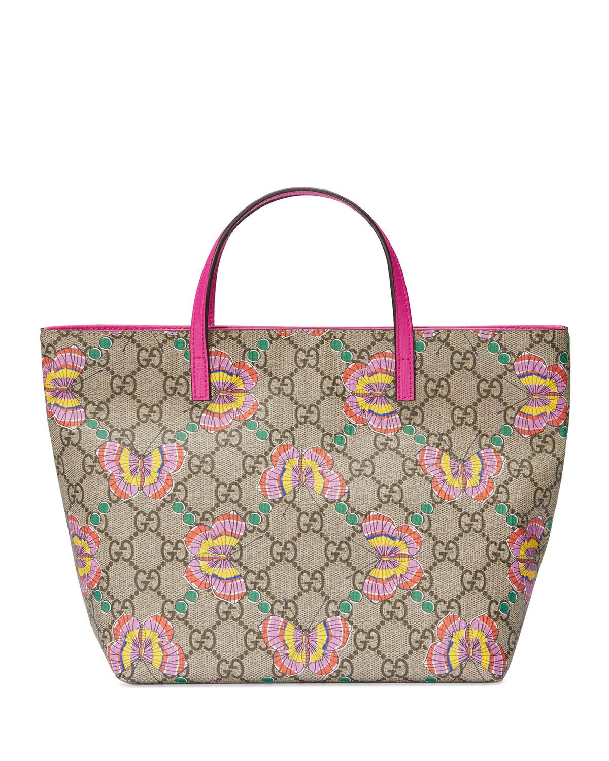 3545549cb79f Gucci Girls' Gg Supreme Butterfly Tote Bag in Natural - Lyst