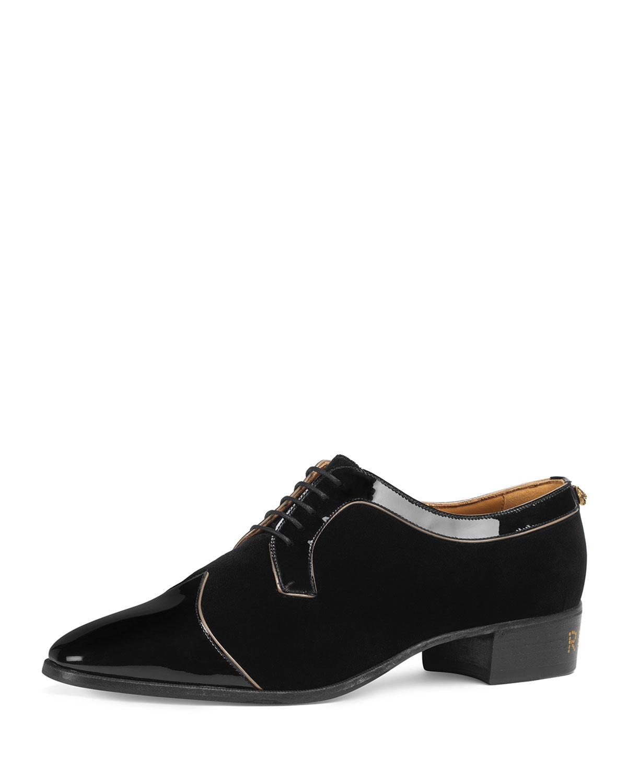 3be0e951c44 Lyst - Gucci Men s Thune Velvet Lace-up Shoes W  Patent Leather Trim ...