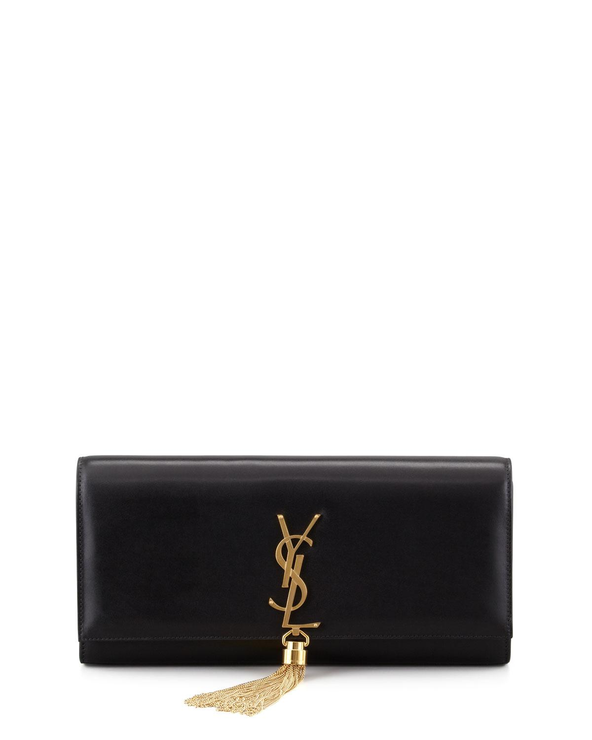 caa82da84c Lyst - Saint Laurent Cassandre Tassel Clutch Bag in Black