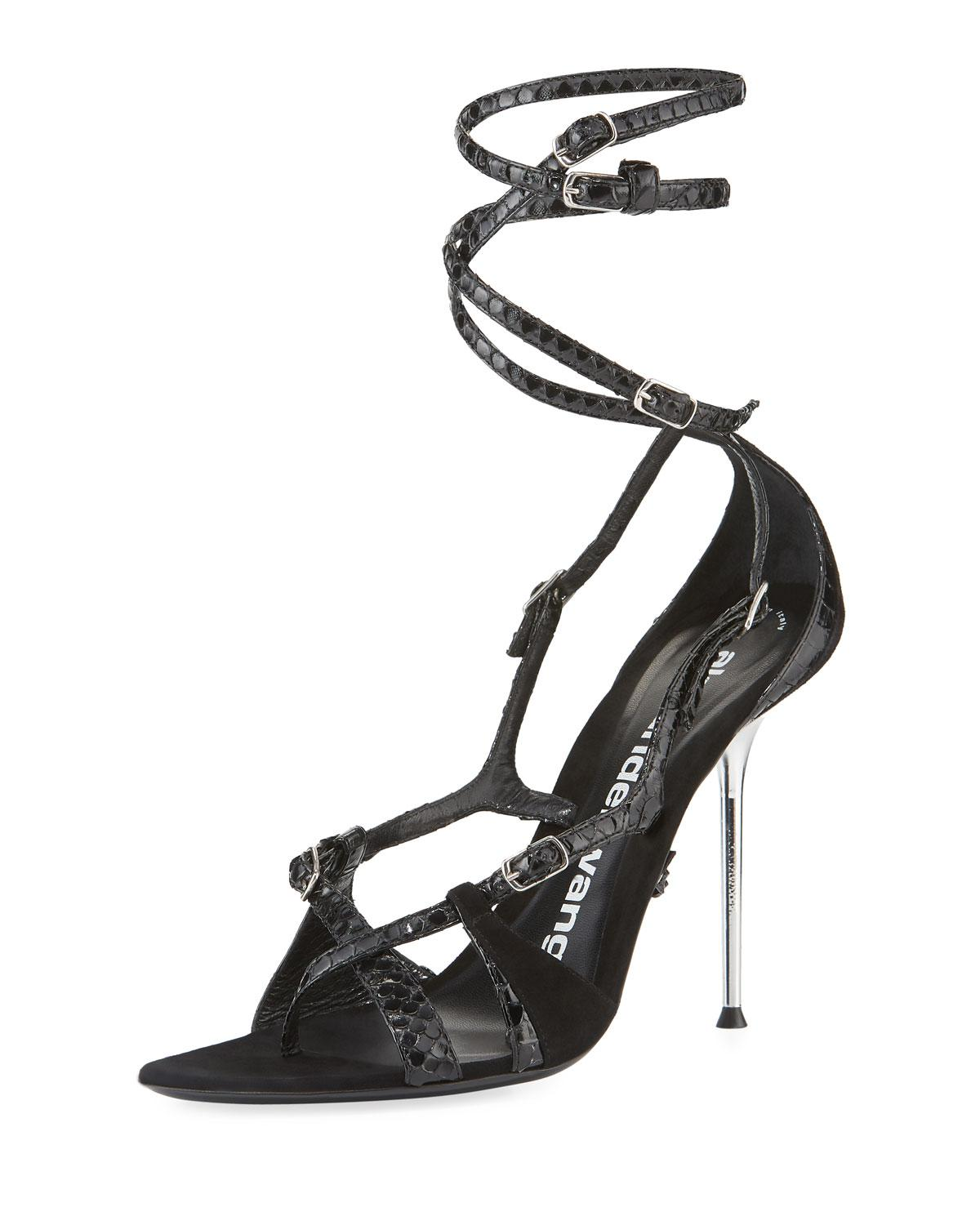 6e14196b56a Lyst - Alexander Wang Kiely Strappy Snake-print Leather-suede Ankle ...