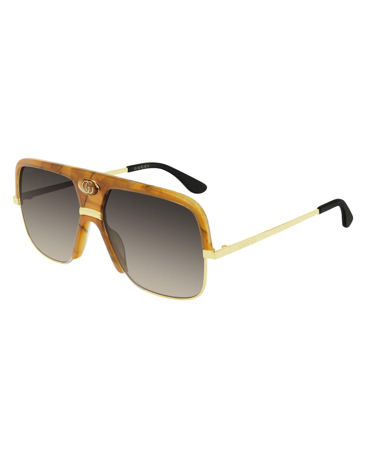 855480afb Gucci. Brown Men's Aviator Sunglasses With Exaggerated Logo Brow. $505 From Bergdorf  Goodman