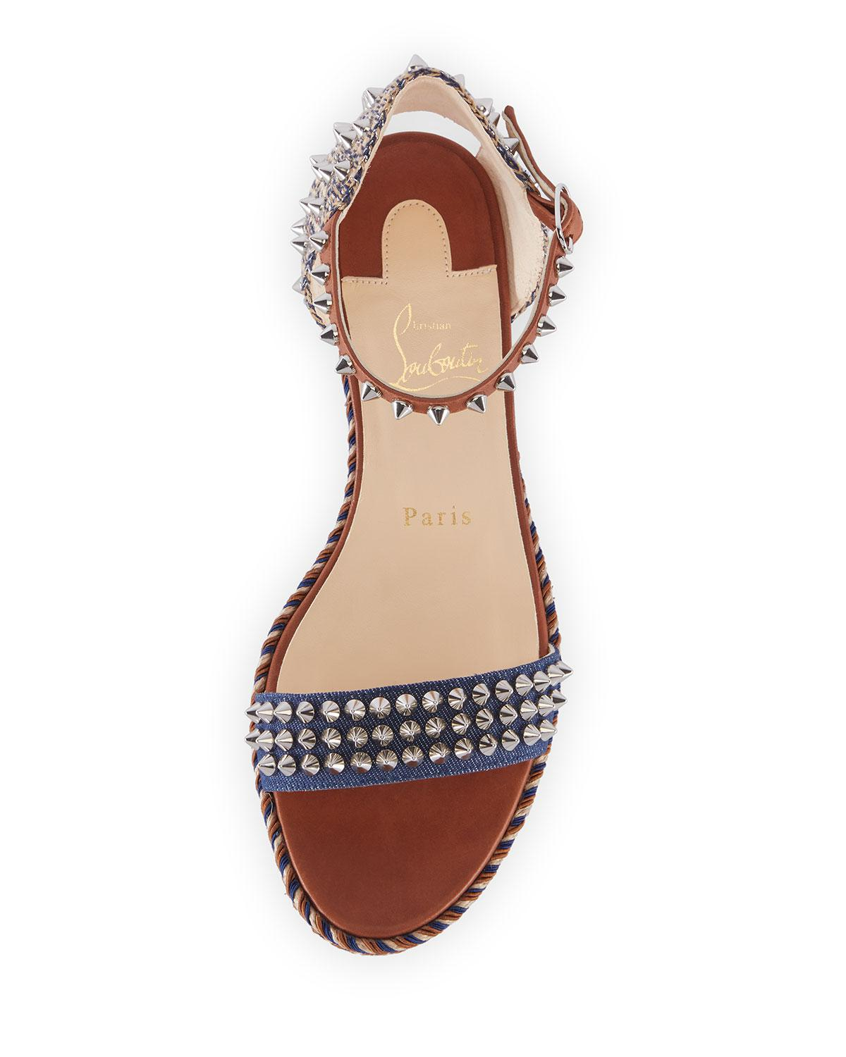 1f31064ec975 Lyst - Christian Louboutin Madmonica 60mm Spiked Denim Wedge Red Sole  Sandals in Blue