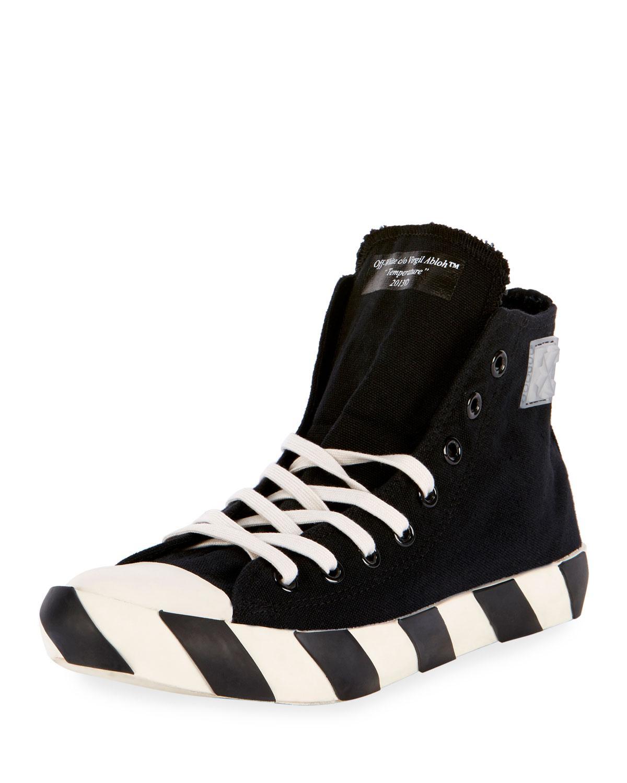 Off-White c/o Virgil Abloh. Men's Black Striped-sole High-top Sneaker