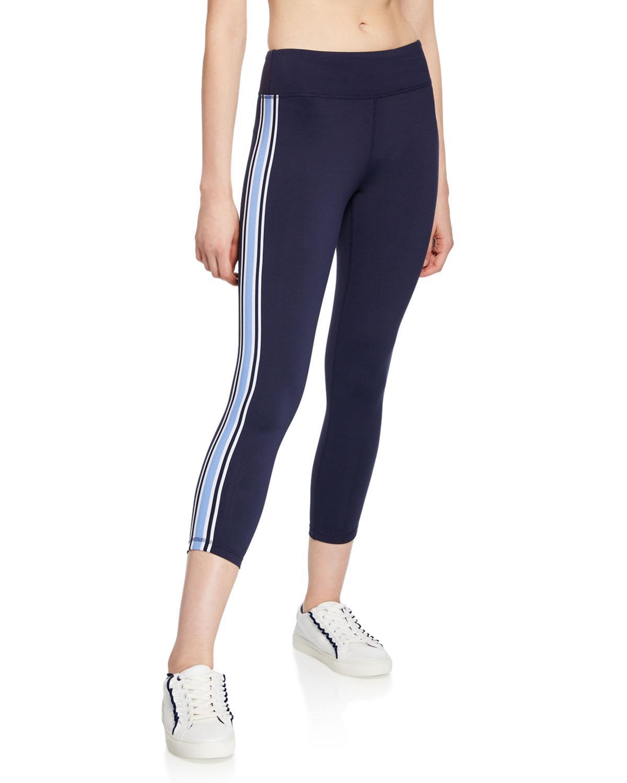 88165d71af0aab Lyst - Tory Sport Side-stripe 7/8 Performance Leggings in Blue