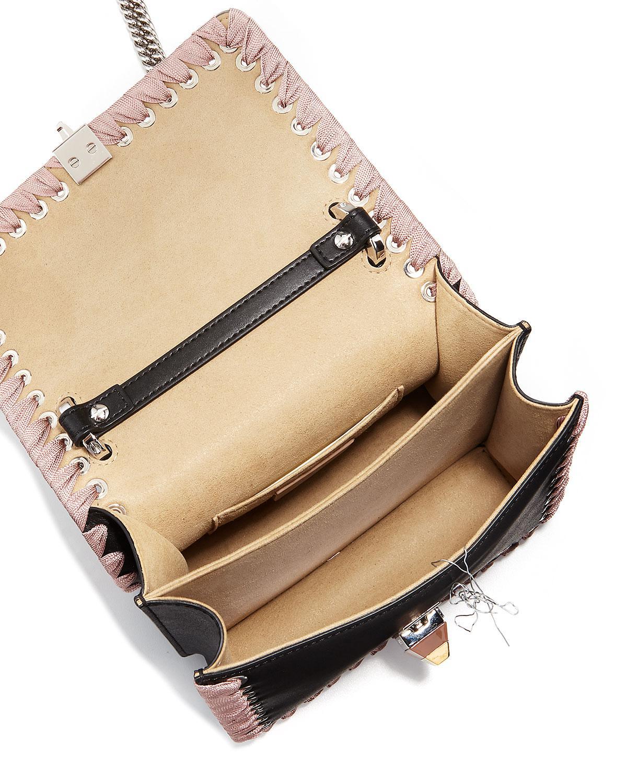 0d6c25c796 Lyst - Fendi Kan I Ribbon Whipstitch Small Shoulder Bag in Black - Save 50%