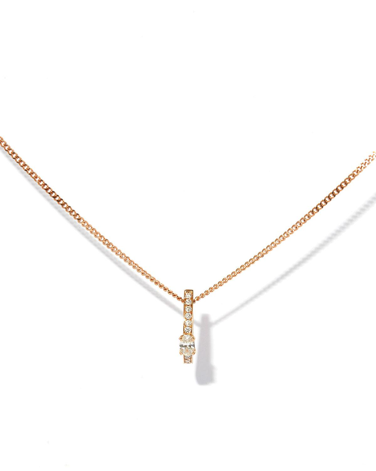 Repossi One-Row Pendant Necklace with Diamonds in 18K Rose Gold RuGUf3m
