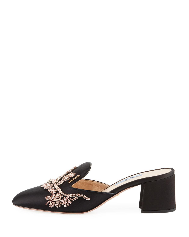 e339a01373c Lyst - Prada Jewel-embroidered Satin Mule in Black