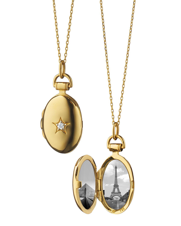 Monica Rich Kosann 18k Gold Diamond Star Locket Necklace 7brDMOmK