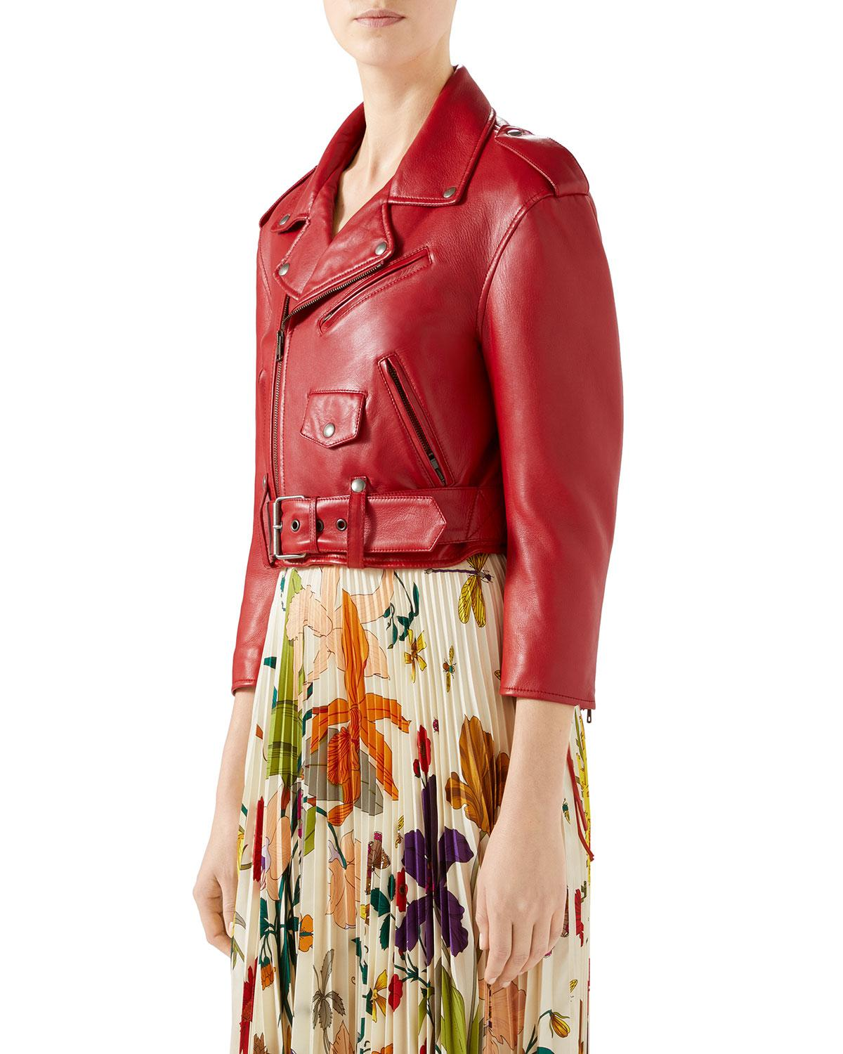 3e0a76bfd4ac Gucci Embroidered Soft Leather Biker Jacket in Red - Lyst