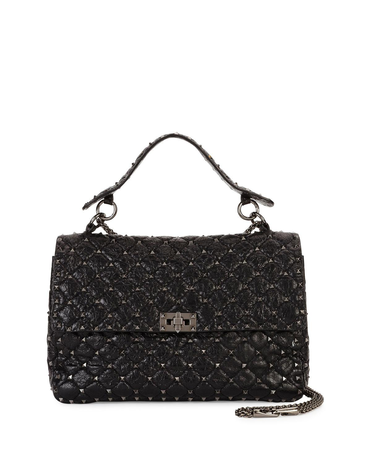 4a5a3a6128d3 Lyst - Valentino Rockstud Spike Large Chain Bag in Black