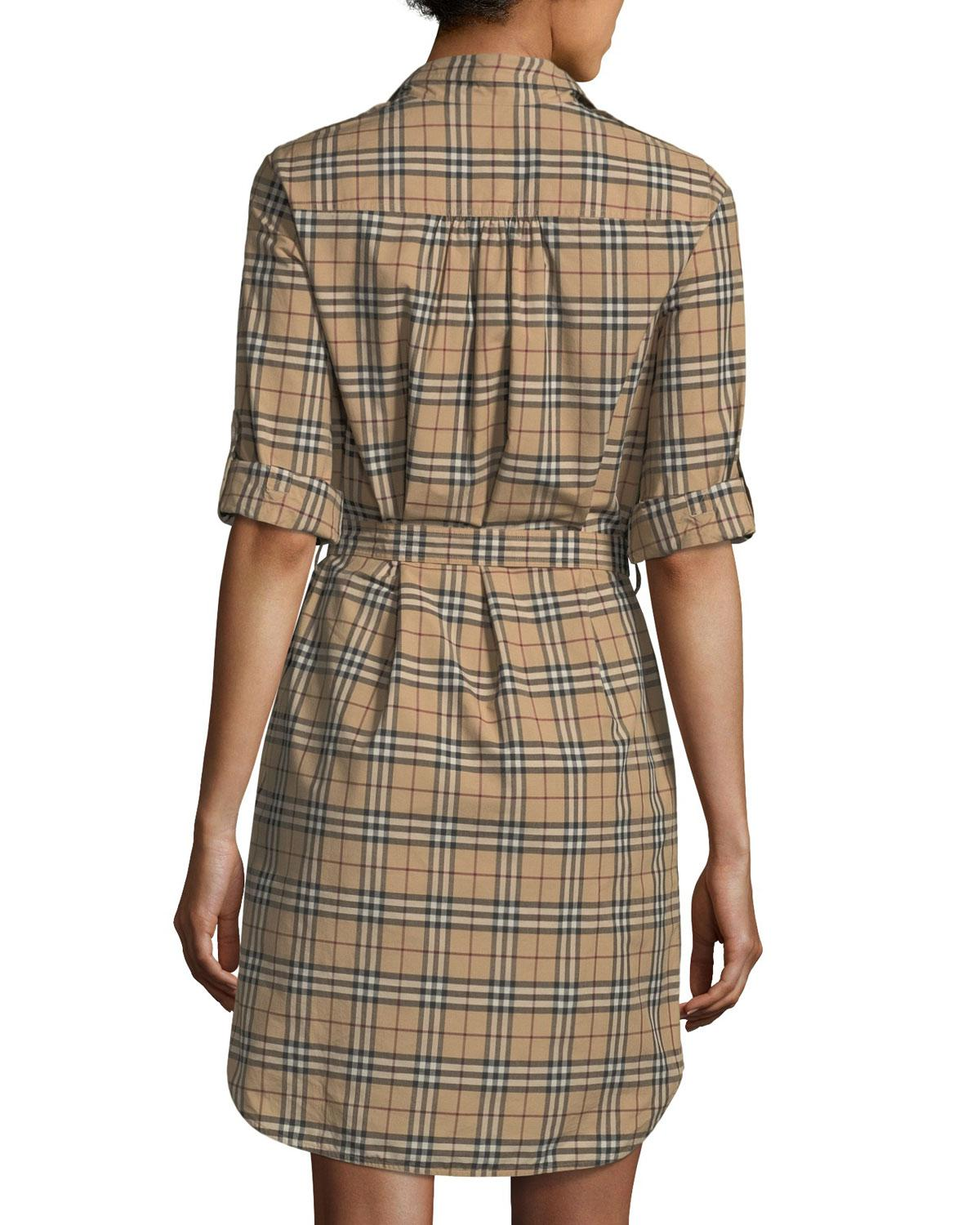 1582f8ea2 Lyst - Burberry Check-print Belted Tunic Dress