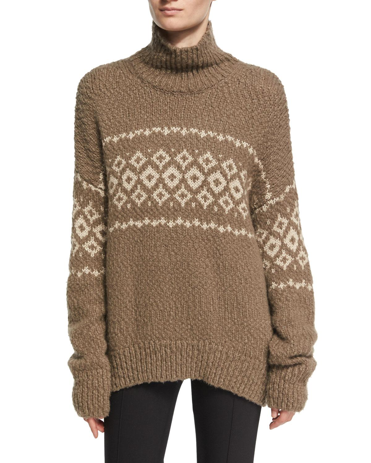 Vince Fair Isle Turtleneck Pullover Sweater in Brown | Lyst