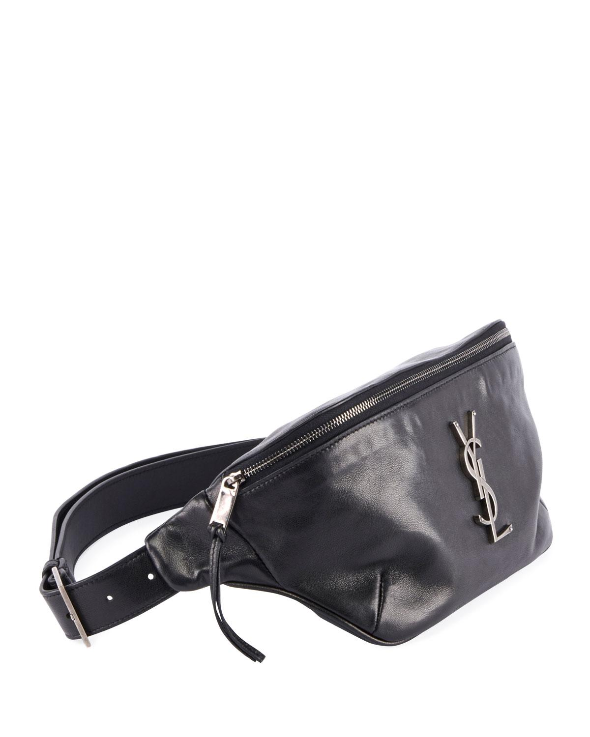c6921243e Saint Laurent Ysl Monogram Curved Zip-top Belt Bag in Black - Lyst