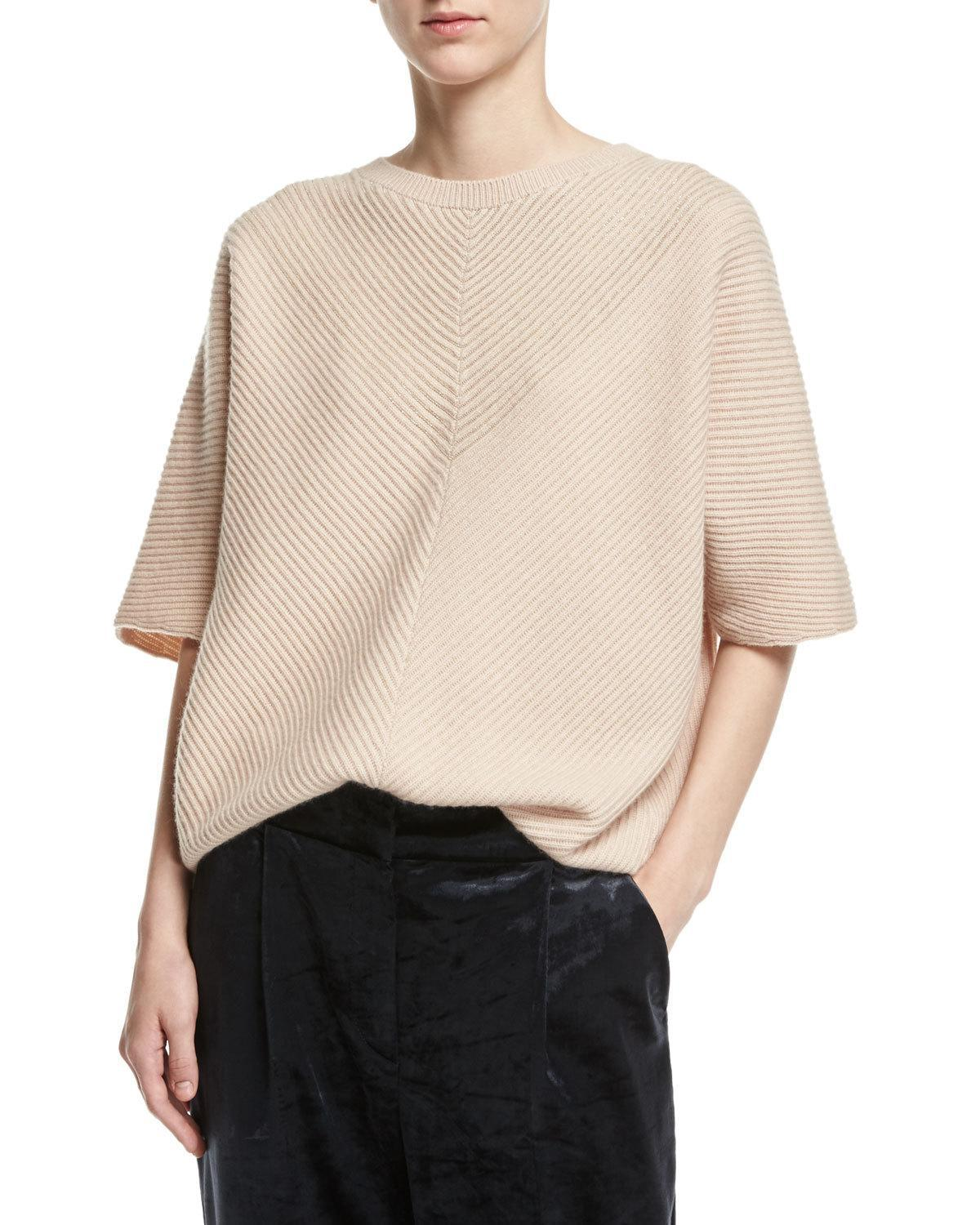 lyst brunello cucinelli cashmere monili rib short sleeve pullover in pink. Black Bedroom Furniture Sets. Home Design Ideas