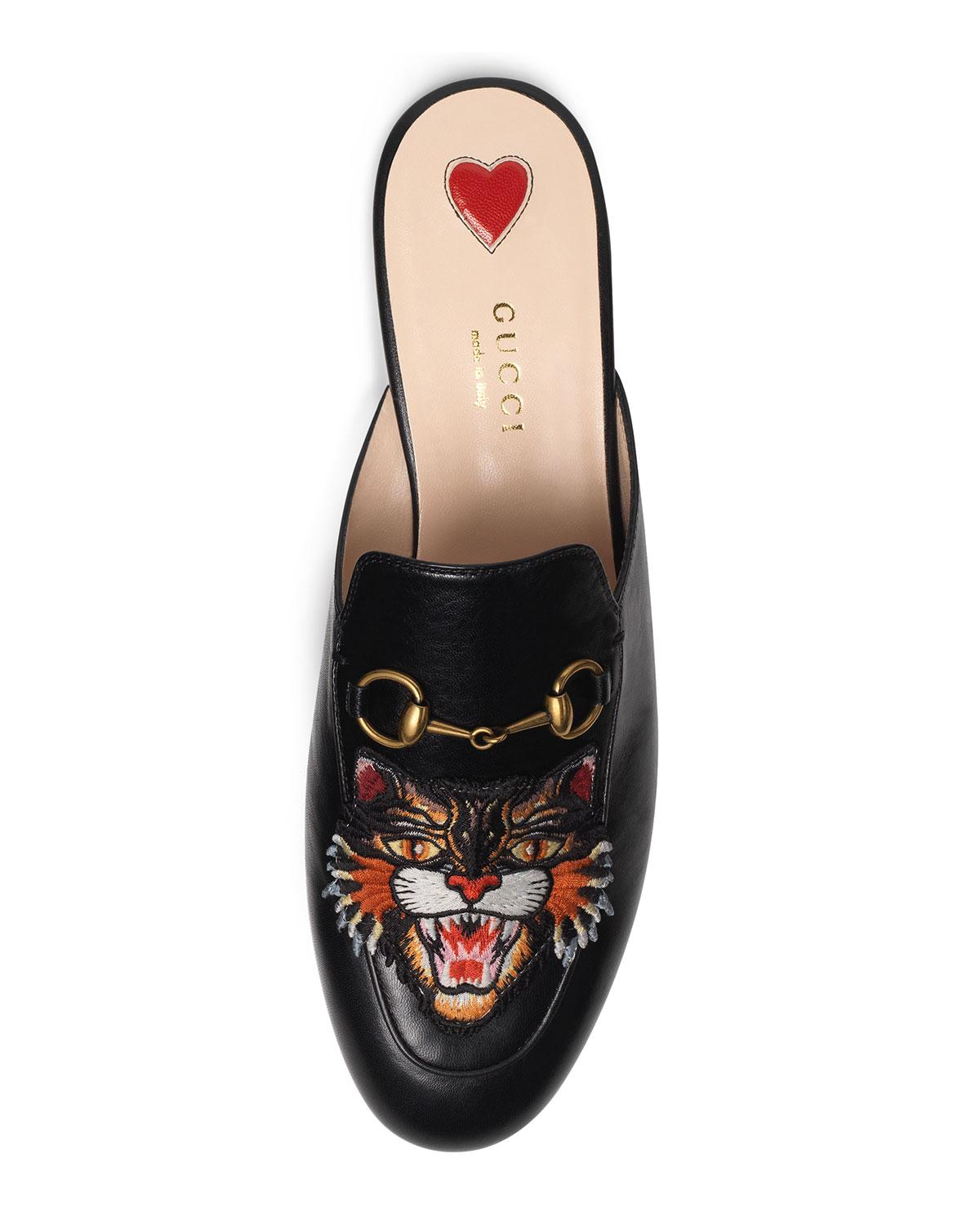 ee0c0ea88ee Lyst - Gucci Princetown Tiger-embroidered Loafer Mule in Black