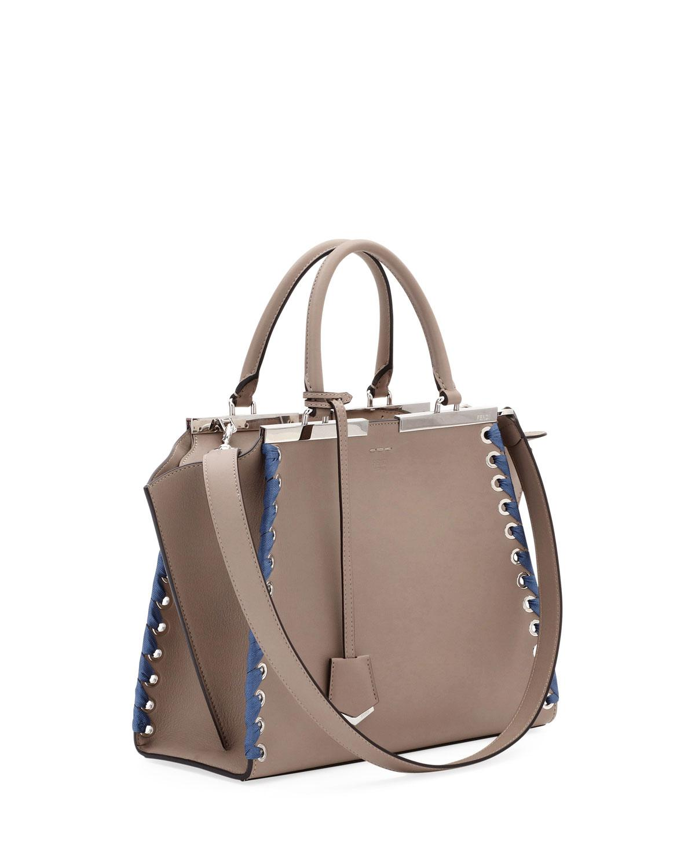 Fendi 3Jours Medium Tote Bag with Ribbon Whipstitching g36KP