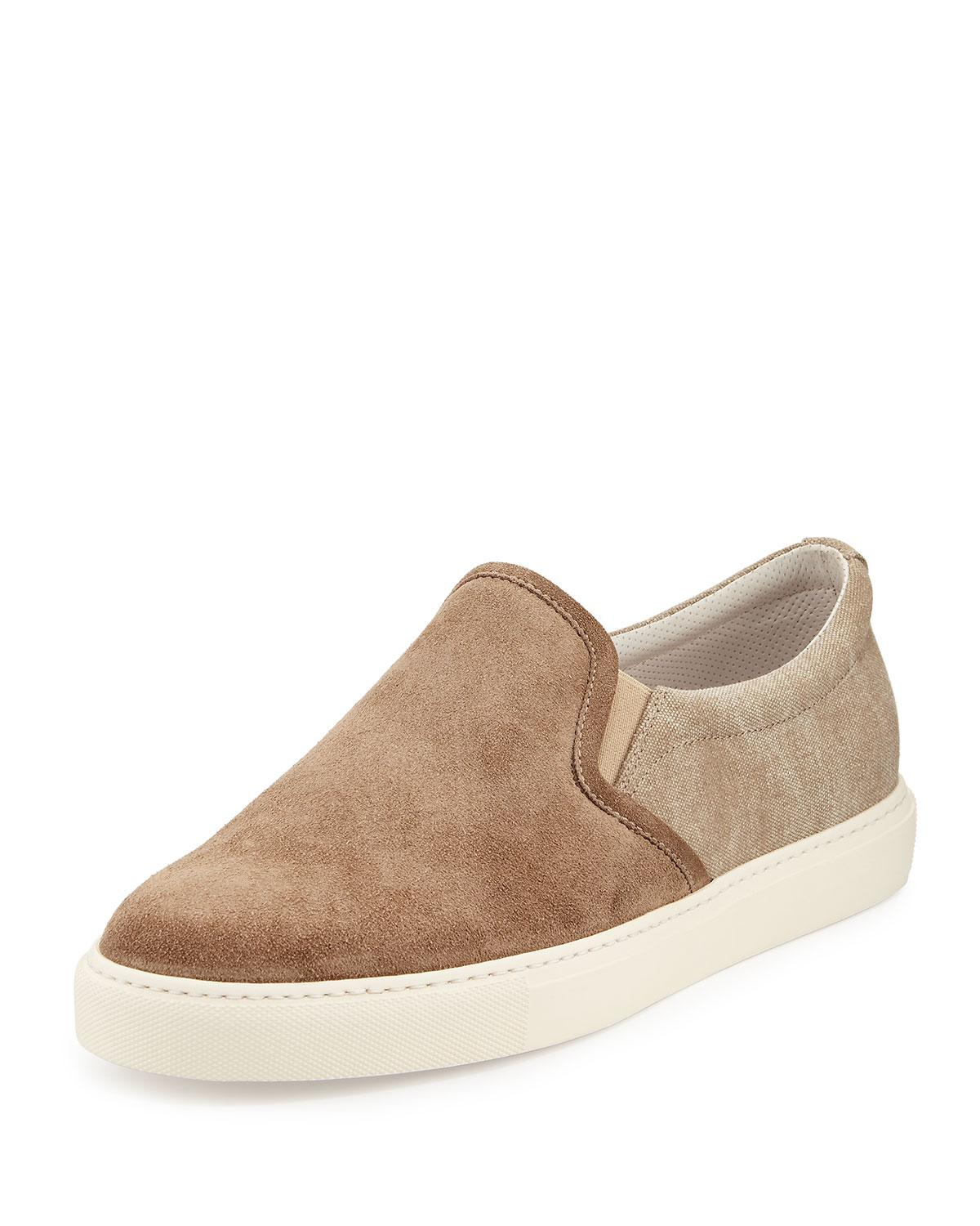 Canvas and suede low-top trainers Brunello Cucinelli E1wJXnR1EM